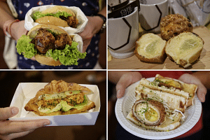 (Clockwise from top left) Coffee pork chop bun from Antoinette, cream muffin from Hattendo, scotch egg sandwich from Park Bench Deli and chilli crab croissants from Foxhole Cafe x The Pourover Bar.