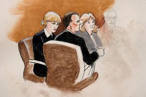 A sketch of Taylor Swift and her attorneys in Denver Federal Court, Aug 8, 2017.
