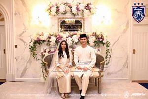 The betrothal ceremony of Johor princess Tunku Tun Aminah Maimunah Iskandariah and Dutchman Dennis Muhammad Abdullah on Aug 14, 2017.