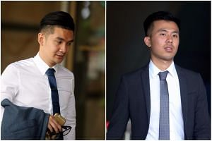 Britons Michael Le (left), Khong Tam Thanh (right) and Vu Thai Son pleaded guilty to outraging a women's modesty.