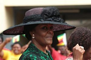 Zimbabwean first lady Grace Mugabe arrives at the National Sports Stadium in Harare, Zimbabwe, Aug 9, 2016.