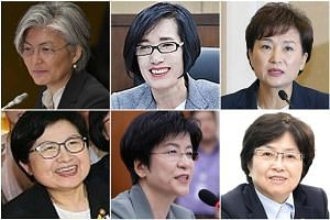 (Clockwise from top left) Foreign Minister Kang Kyung Wha, Patriots and Veteran Affairs Minister Pi Woo Jin, Land Minister Kim Hyun Mee, Environment Minister Kim Eun Kyung, Labour Minister Kim Young Joo and Gender Equality Minister Chung Hyun Back.