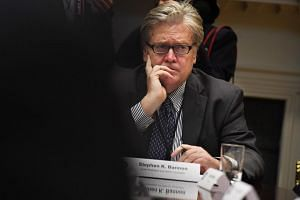Chief strategist and senior counselor Stephen K. Bannon at a meeting that President Donald Trump had with business leaders in the Roosevelt Room of the White House.