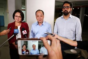 (From left to right) Workers' Party MPs Sylvia Lim, Low Thia Khiang and Pritam Singh, have filed their defence to the lawsuit of Aljunied- Hougang Town Council (AHTC).