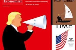 The New Yorker shows him in a boat blowing wind into a sail that is shaped like the hood of white supremacist group Ku Klux Klan (KKK), while The Economist shows him blowing wind into a KKK megaphone. Time magazine showed a person in black boots and