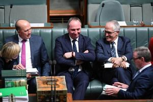 (From left) Australian Foreign Minister Julie Bishop, Australian Immigration Minister Peter Dutton, Australian Deputy Prime Minister Barnaby Joyce and Australian Prime Minister Malcolm Turnbull at the Parliament House in Canberra, Australia, on Aug 1