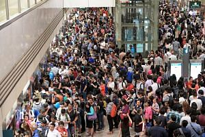 The crowd at Bishan MRT station on Friday, at about 8.30am.
