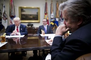 Bannon (far right) participates in a budget meeting at the White House in Washington, Feb 22, 2017.