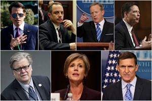 (Clockwise from top left) Anthony Scaramucci, Reince Priebus, Sean Spicer, James Comey, Michael Flynn, Sally Yates and Stephen Bannon have all been fired or resigned during the Trump administration.