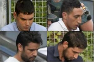 (Clockwise from top left) Mohamed Houli Chemlal, Driss Oukabir, Salah El Karib, and Mohamed Aallaa, suspected of involvement in the terror cell that carried out twin attacks in Barcelona and Cambrils.