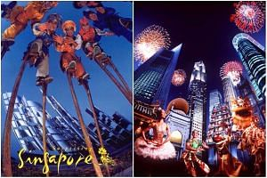 Singapore's early major tourism campaigns with the taglines Surprising Singapore (left) and New Asia - Singapore.
