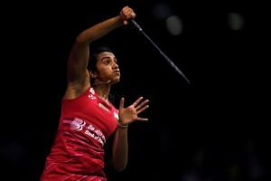 India's Pusarla Sindhu in action..