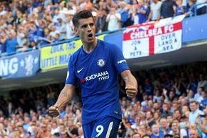Chelsea's Alvaro Morata celebrates scoring their second goal during the Premier League on Aug 27, 2017.