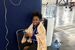 Leeanta Rodriguez, 13, pictured at the George R Brown Convention Center in Houston on Augu27, 2017.