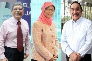 (From left) Presidential hopefuls Salleh Marican, Halimah Yacob and Farid Khan.