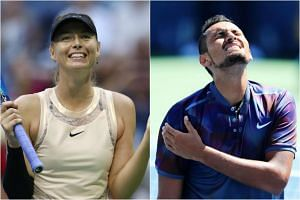 Maria Sharapova (left) reacts after defeating Timea Babos. Nick Kyrgios (right) holds his shoulder while playing against John Millman.