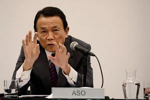 Japanese Finance Minister Taro Aso speaks at Columbia Business School in New York City, on April 19, 2017.