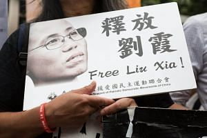 An activist holding a placard showing the photo of Liu Xia, wife of late Chinese Nobel Prize winner Liu Xiaobo, during a rally in Hong Kong on Aug 30, 2017.