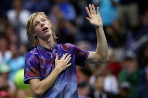 Denis Shapovalov of Canada reacts after losing to Pablo Carreno Busta at the 2017 US Open on Sept 3, 2017.