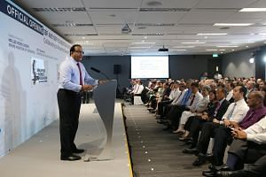 Minister for Trade and Industry (Industry) S. Iswaran at the official opening of the Singapore Business Federation's new Robinson Road office on Sept 5, 2017.