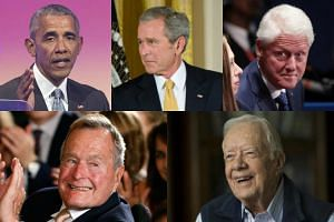"Former presidents (clockwise from top left) Barack Obama, George W. Bush, Bill Clinton, George H.W. Bush and Jimmy Carter will launch ""One America Appeal"" to start collecting funds for victims of Hurricane Harvey."