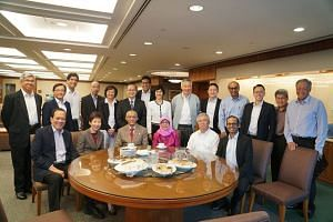(Front row, from left) MP Charles Chong (Punggol East), Minister for Culture, Community and Youth & Leader of the House Grace Fu, Mr Mohamed Abdullah Alhabshee, Madam Halimah Yacob, NMP Thomas Chua, and NMP Mahdev Mohan. (Back row, from left) Ministe