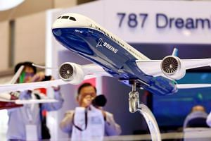 A model of Boeing's 787 Dreamliner shown at the Japan Aerospace 2016 air show in Tokyo, Japan on Oct 12, 2016.