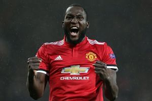 Lukaku celebrates scoring against Basel.