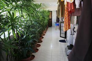 A view of the corridor leading to Madam Halimah Yacob's Yishun flat.