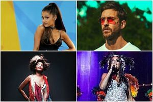 (Clockwise) Catch Ariana Grande, Calvin Harris, Acantha Lang and Macy Gray this weekend.