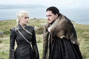 Television still: Game Of Thrones starring Emilia Clarke and Kit Harington.