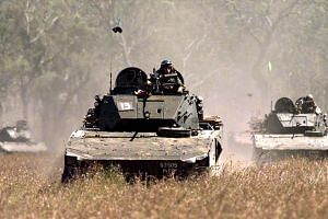 A file photo of a Bionix Infantry Fighting Vehicle. NSF Chan Hiang Cheng Gavin was found unconscious next to a similar vehicle at the Shoalwater Bay Training Area in Queensland.