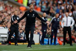 Liverpool manager Juergen Klopp reacts during the match against Burnley.