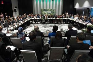 Environment ministers from some 30 countries (above) gathered to push forward on implementing the Paris climate accord.