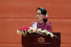 Myanmar's State Counselor Aung San Suu Kyi gives a speech on the Myanmar government's efforts with regard to national reconciliation and peace in Naypyitaw, Myanmar, on Sept 19, 2017.