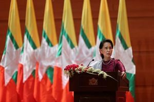 Aung San Suu Kyi delivers a national address in Naypyidaw on Sept 19, 2017.