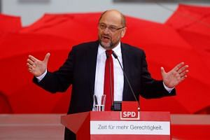 SPD Chancellor candidate Martin Schulz speaks during a campaign rally in Heidelberg, Germany, on Sept 19, 2017.