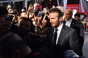 David Beckham leaving after an AIA event at Clifford Square on Sept 21, 2017.