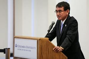 Japan's Foreign Minister Taro Kono gives a speech at Columbia University in Manhattan, New York.