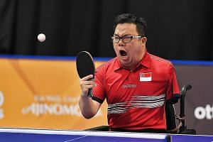 Para-table tennis player Jason Chee after beating Thailand's Thirayu Chueawong 11-8, 11-2, 12-10 yesterday in the men's individual Class 2 event of the Asean Para Games in Kuala Lumpur.