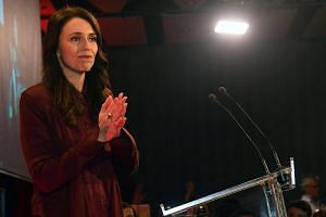 Labour Party leader Jacinda Ardern speaks to supporters at the party's general election event at the Aotea Centre in Auckland on Sept 23, 2017.