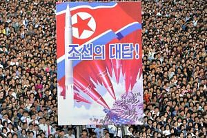 The anti-US rally at Kim Il Sung Square in Pyongyang last Saturday. More than 100,000 people gathered for the event, according to North Korea's official KCNA news agency.