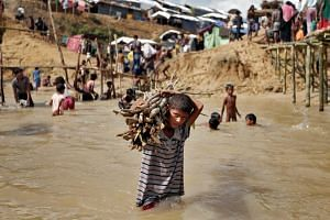 A Rohingya refugee carries firewood in a camp in Cox's Bazar, Bangladesh, on Sept 22, 2017.