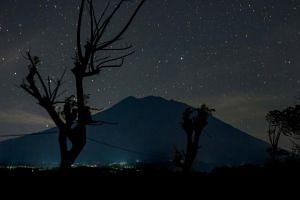 Mount Agung seen before dawn from Kubu in Karangasem Regency on Sept 28.