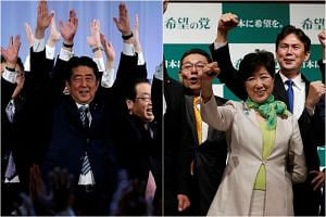 Japanese Prime Minister Shinzo Abe with members of the ruling Liberal Democratic Party (left) and Tokyo Governor Yuriko Koike with Kibo No To (Party Of Hope) members.