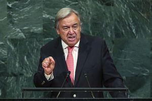 Guterres addressing the UN General Assembly, Sept 19, 2017.