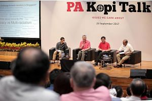 Prime Minister Lee Hsien Loong at the People's Association KopiTalk dialogue on Sept 23, 2017.