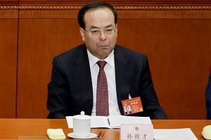 Chongqing Municipality Communist Party Secretary Sun Zhengcai at the opening session of China's National People's Congress at the Great Hall of the People in Beijing, China, on March 5, 2017.