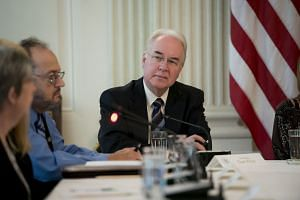 Tom Price at a White House meeting with experts on the US opioid crisis, Sept. 28, 2017.