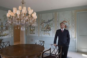 Guo Wengui at his apartment in the Sherry Netherlands Hotel, in New York, on May 16, 2017. Facebook said it had blocked a profile under Guo's name and taken down another page associated with him.